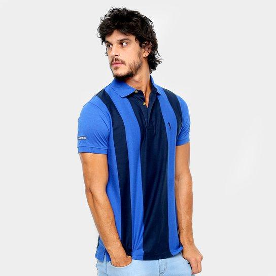 Camisa Polo Aleatory Fio Tinto Listrada Masculina - Marinho e Azul ... 17f4928ae6732