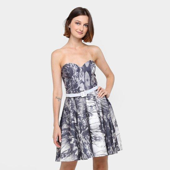 ac91f0a2ce Vestido Lança Perfume Tomara-que-caia Curto Lady Like - Preto+Branco