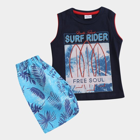 955e8c7c23 Conjunto Infantil Fakini Kids Surf Rider Masculino - Marinho e Azul ...