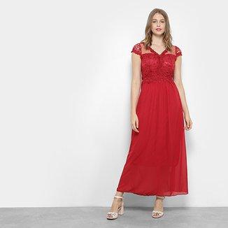 a34adaae02 Vestido Lily Fashion Longo Festa Rendado