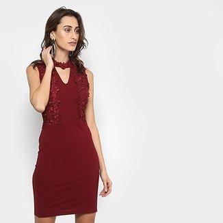 cfdf45bae6 Vestido Lily Fashion Tubinho Curto Renda
