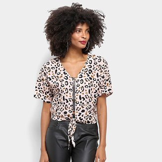 4550974ea0 Blusa Top Moda Cropped Animal Print Onça Feminina