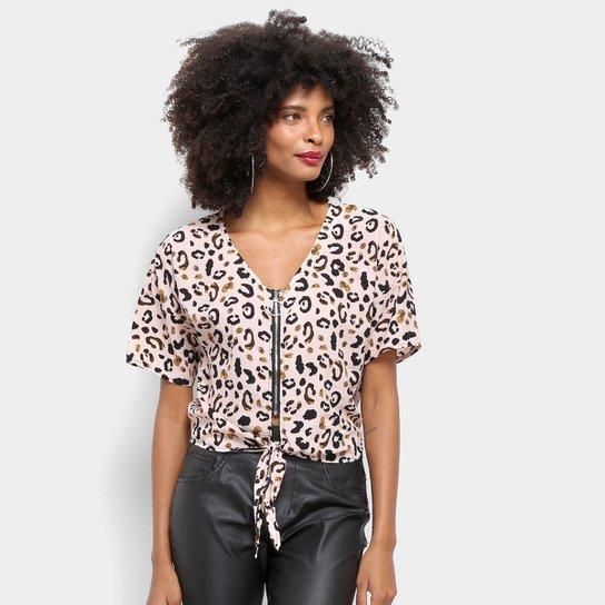 32ad23ac0 Blusa Top Moda Cropped Animal Print Onça Feminina - Bordô | Zattini