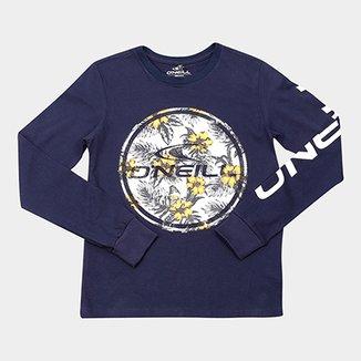 3e0ce67f6bb6d Camiseta Infantil O Neill Estampa Floral Manga Longa Masculina