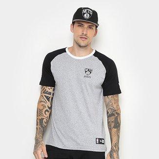 Camiseta New Era NBA Brooklyn Nets Raglan Mini Logo Masculina 8dce6558a49