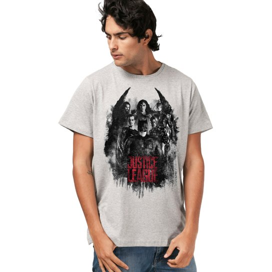 8bf8e09a1 Camiseta Liga da Justiça DC Comics Red Heroes bandUP! Masculina - Mescla