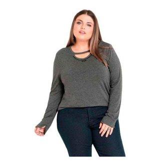 8732920c98 Blusa Beline Plus Size com Pedraria Escura Quintess