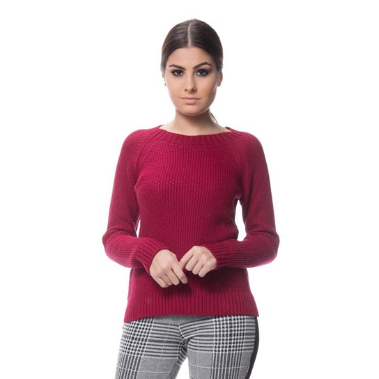 c706a30396 Blusa Logan Tricot Textura Clássica Ponto Arroz Feminina - Bordô ...