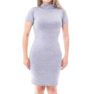 27cbe735e Vestido Moda Vicio Justo Manga Curta Gola Alta Feminino