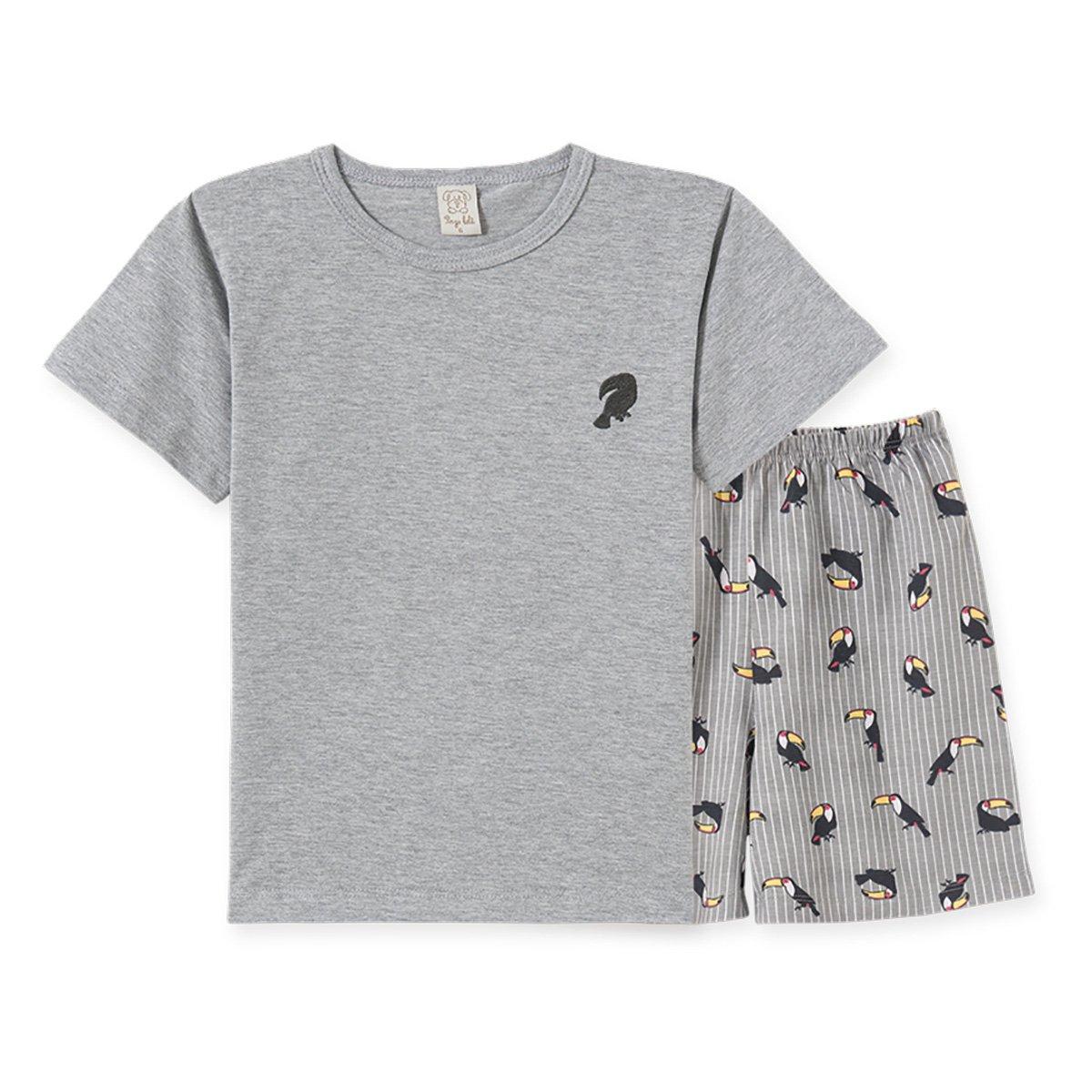 Pijama Juvenil Pingo Lelê Camiseta Tucano + Bermuda Masculino