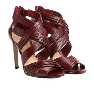 e87dd9a77f Sandália Couro Shoestock Salto Fino Drapeada Feminina