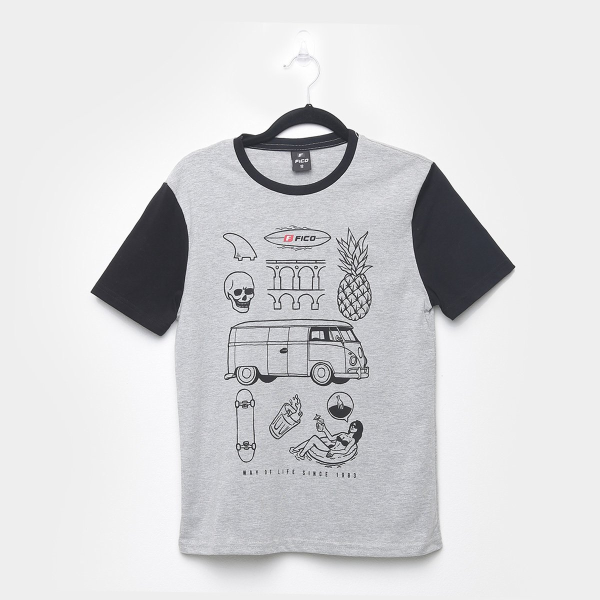Camiseta Juvenil Fico Estampada Manga Curta Masculina