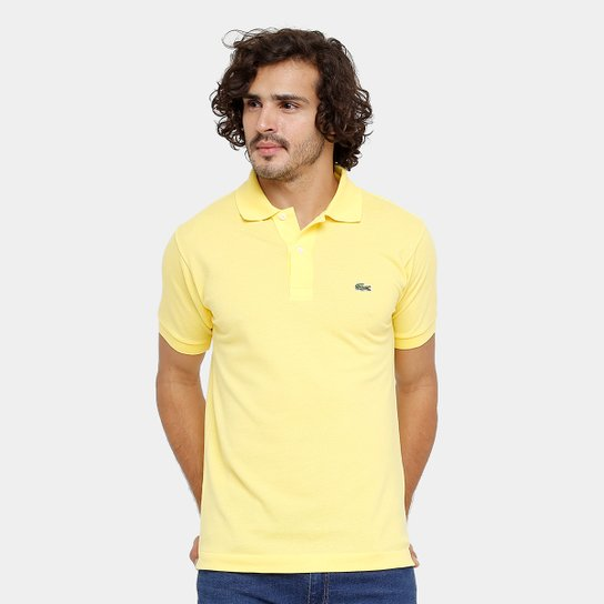 f83ae6c1fbeac Camisa Polo Lacoste Piquet Original Fit Masculina - Amarelo Claro ...