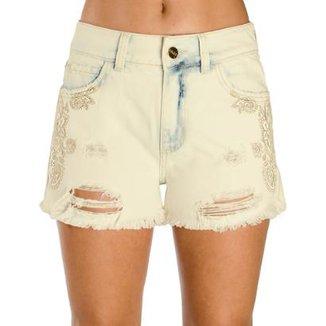 53972465c Shorts Jeans 100% Algodão Destroyed Colcci
