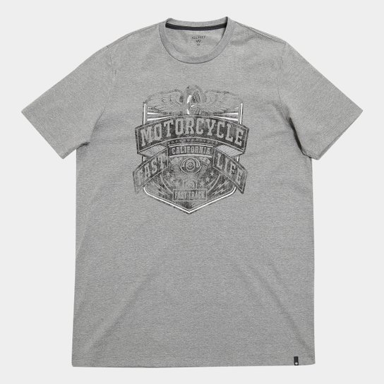 e09ef5d6e Camiseta All Free Estampa Motociclismo Plus Size Masculina - Mescla Escuro