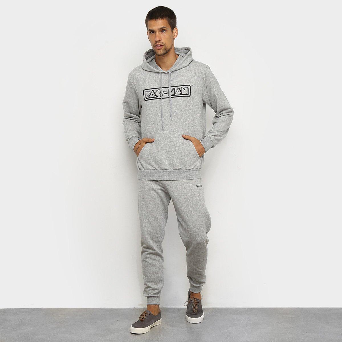 Agasalho Moletom Pacman Blusa e Calça Logo Capuz Masculino