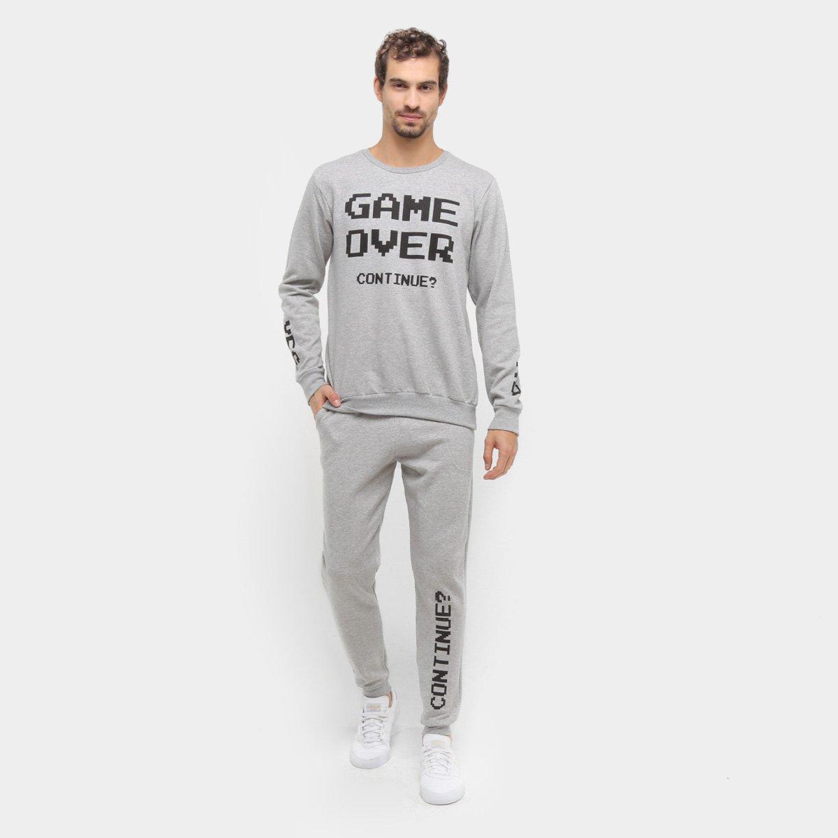 Agasalho Moletom Pacman Blusa e Calça Game Over Masculino