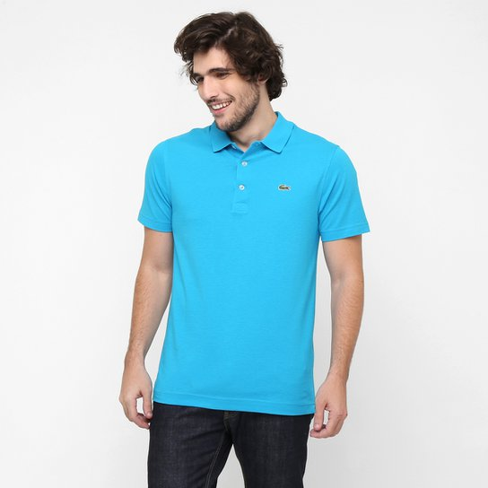 Camisa Polo Lacoste Super Light Masculina - Azul Piscina e Verde ... f6f724625367c