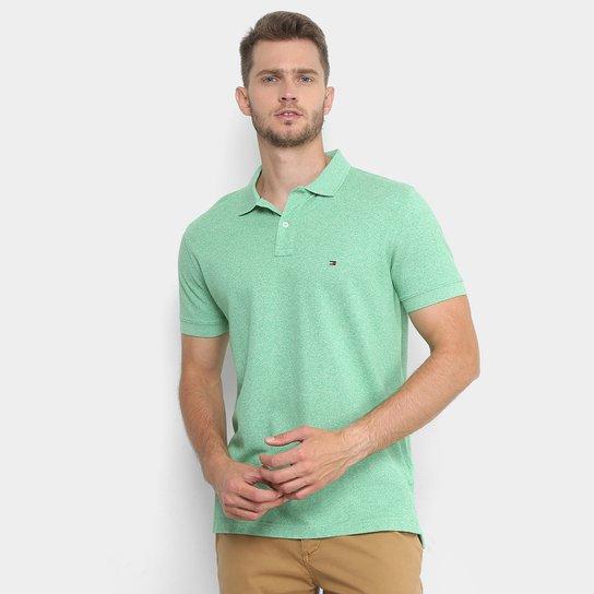 Camisa Polo Tommy Hilfiger Piquet Mescla Color Masculina - Verde claro b2993817f8af7