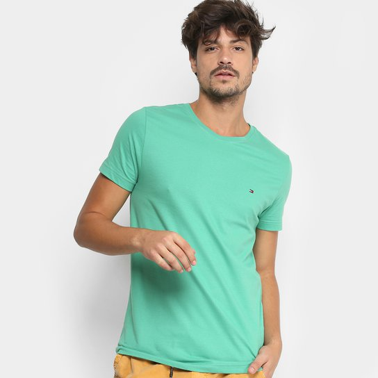df8eb31570790 Camiseta Tommy Hilfiger Básica Masculina - Verde claro - Compre ...