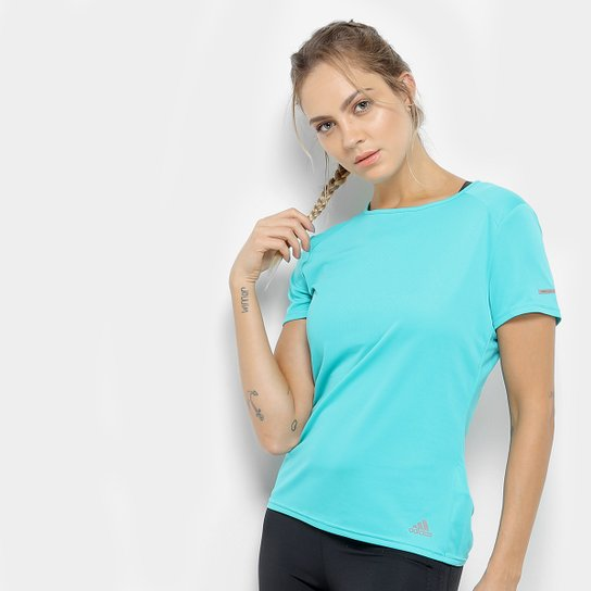 d88c7704da2 Camiseta Adidas Run Feminina - Azul Claro+Azul