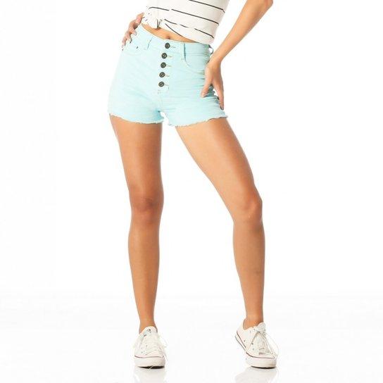 Shorts Jeans com Elastano Cintura Alta Colorido Loja Sobreposto - Verde  claro ad23366b64