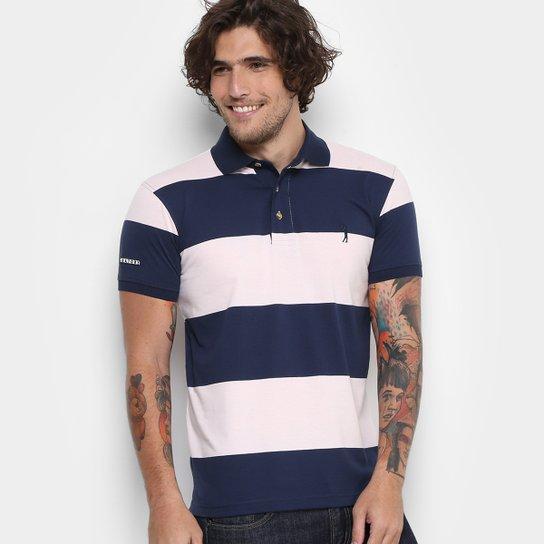 87649febb Camisa Polo Aleatory Malha Fio Tinto Masculina - Azul e Rosa ...