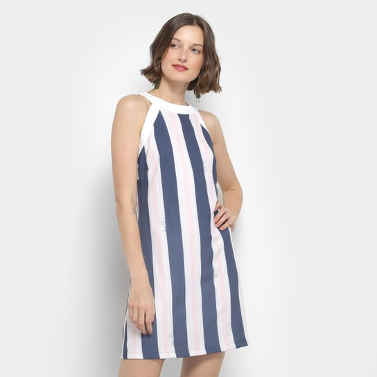 bb65736e8 Vestido Lança Perfume Evasê Curto Listrada - Azul e Rosa - Compre ...