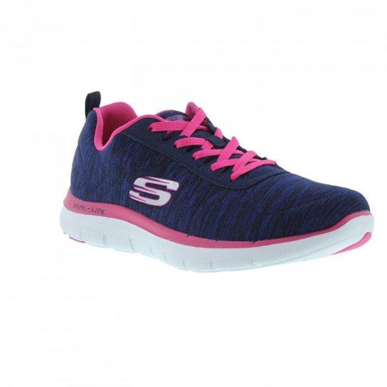 c92be7cbb32 Tenis Skechers Flex Appeal Feminino - Azul e Rosa - Compre Agora ...