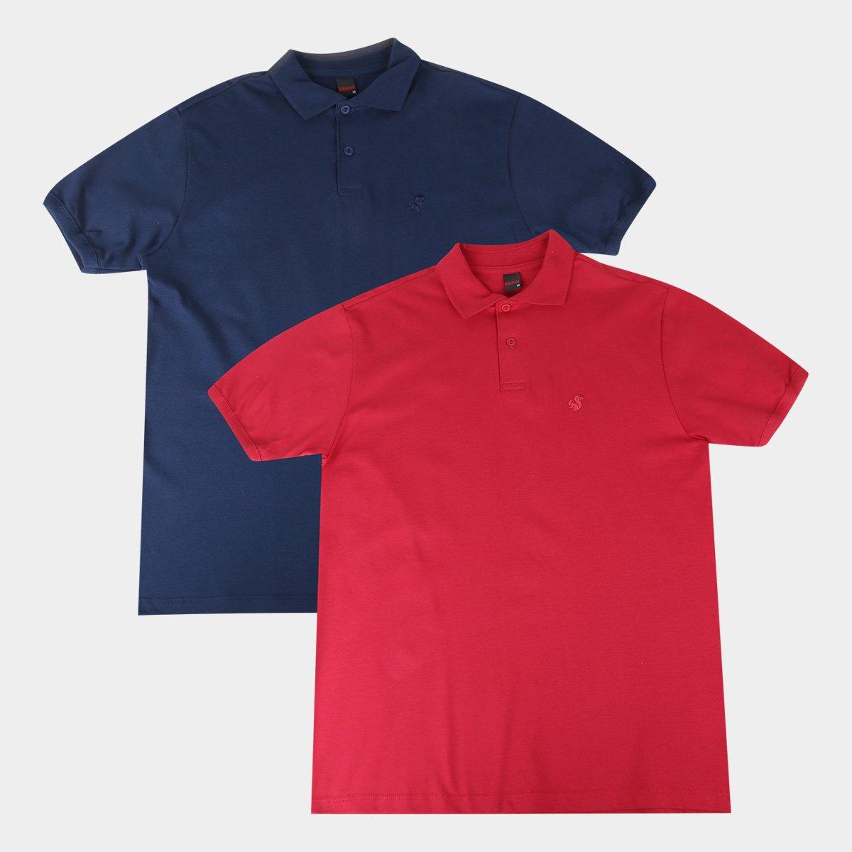 Kit 2 Camisas Polo Básicos Lisa Masculina