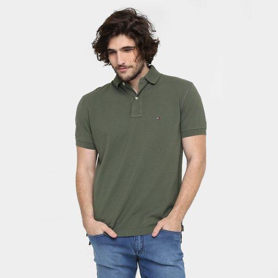 6747548f93461 Camisa Polo Tommy Hilfiger Piquet Regular Fit Masculina - Verde Militar