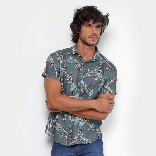 499ca8966 Camisa Reserva Estampada Floral Manga Curta Masculina - Verde Militar