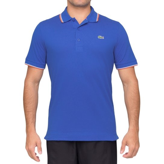 e8b4ef122a491 Camisa Polo Lacoste Básica - Azul e Laranja - Compre Agora   Zattini