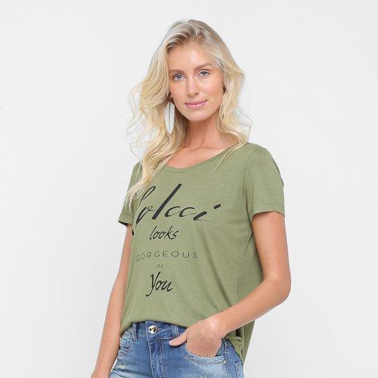 59fc3d921 Camiseta Colcci Estampada Feminina - Verde Militar