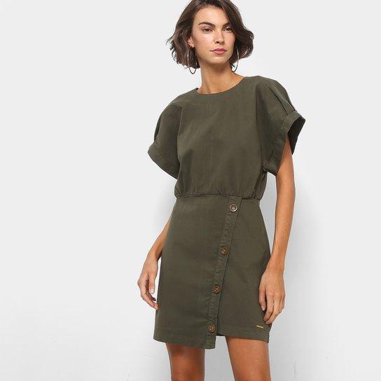 af217f8b1 Vestido Colcci Evasê Curto Botões Laterais - Verde Militar