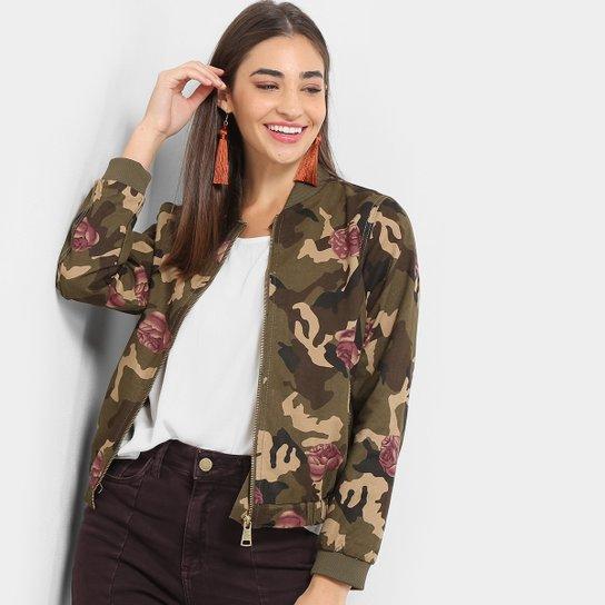 710c2acaa Jaqueta Lily Fashion Bomber Camuflada Floral Feminina - Verde Militar