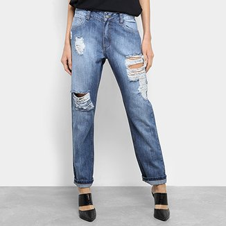 ebb16940e Calça Jeans Boyfriend Handbook Tekita Rasgada Feminina
