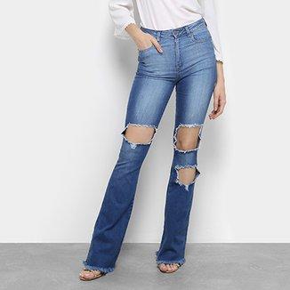 f42bddac7 Calça Jeans Flare Handbook Tarsila Cintura Média