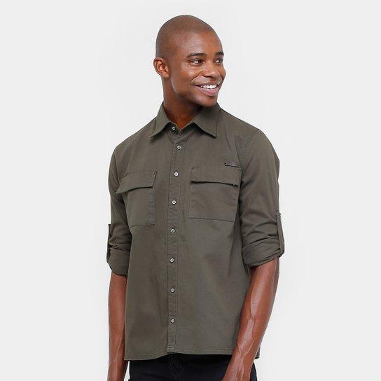 Camisa Sarja Zune Bolso Masculina - Compre Agora  14b62dd11a383