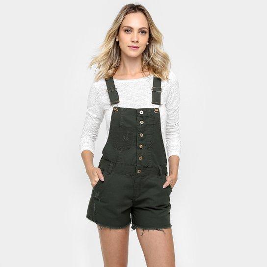 475c22e0bf4f5 Jardineira Razon Jeans Puídos - Verde Militar