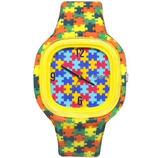 42addd17645 Relógio Hopes Autismo Print - Verde e Amarelo - Compre Agora
