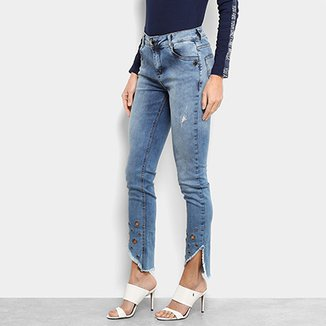 3448d37bcc Calça Jeans Skinny Morena Rosa Ilhóses Cintura Média Feminina