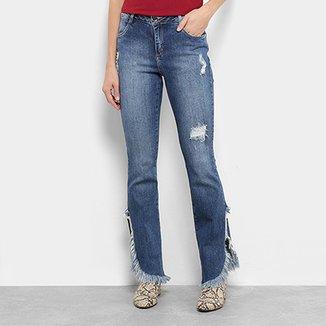 f1b3b7feb0 Calça Jeans Boot Cuut Morena Rosa Fenda Destroyed Feminina