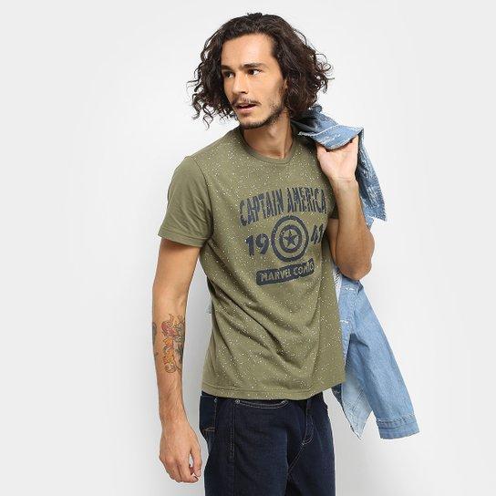 19b8d74fe5 Camiseta Drezzup Marvel Capitão América Masculina - Verde Militar