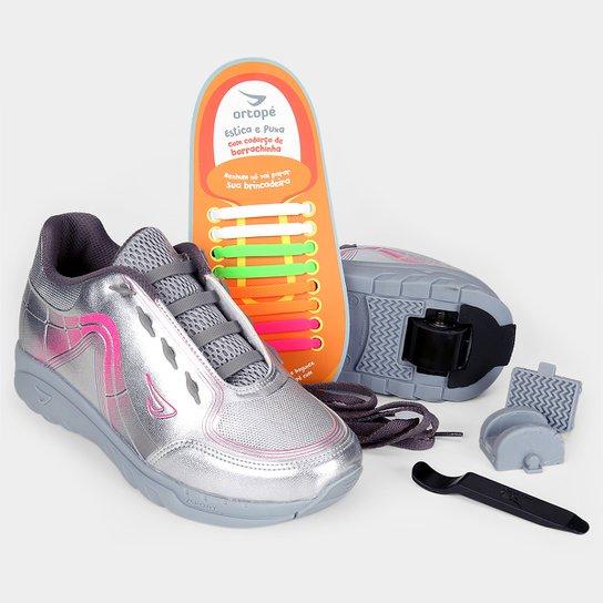 e7f8e3e34 Tênis Ortopé Estica e Puxa Rodinha Metalizado Infantil - Prata+Pink