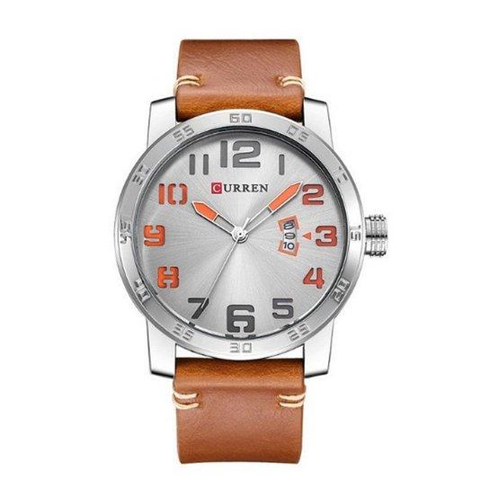 f66d73f32e0 Relógio Curren Analógico 8254 Prata e Laranja - Compre Agora