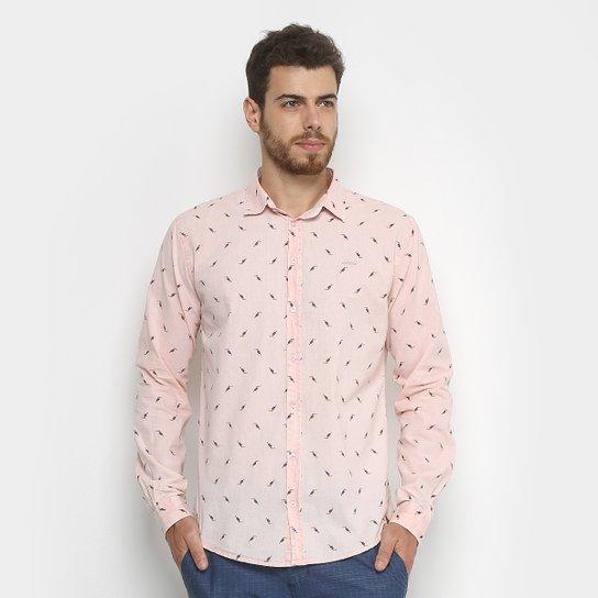 b3bc622d41511 Camisa Colcci Slim Estampada Masculina - Rosa e Preto - Compre Agora ...