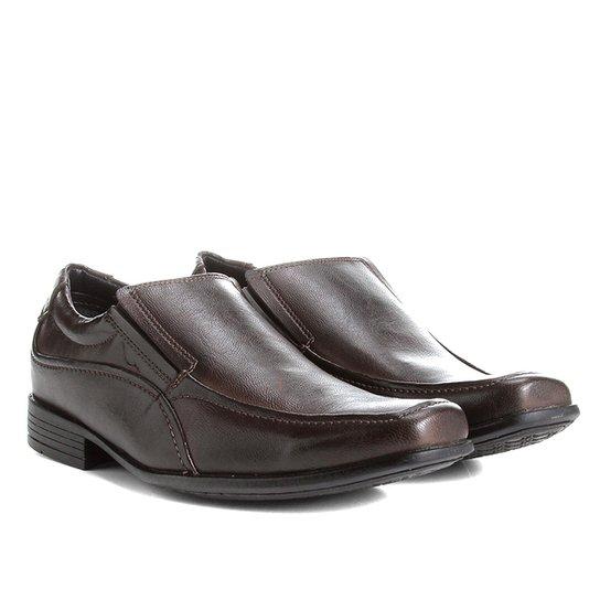 1354302de Sapato Social Mariner Básico Masculino - Marrom Escuro+Preto