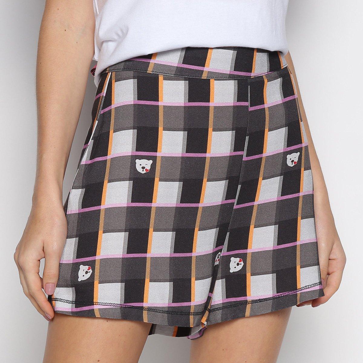 Shorts Xadrez Coca-Cola Hot Pants Polar Bear Feminino