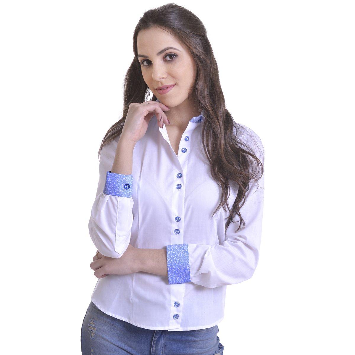 95.028 Camisa Social Feminina Modelo E Branca Azul - Compre Agora ... a56822c8119